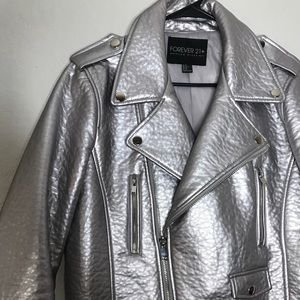 Silver LEATHER JACKET 🔪
